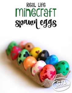 Make Minecraft spawn eggs for Easter or any time you want! These colorful eggs can even be crafted from wood or paper mache eggs so they can be placed in on a shelf and admired for weeks!