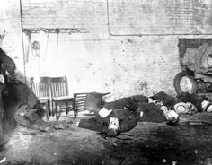 The bodies of six of the seven men slain on Feb. 14, 1929, in the S. M. C. Cartage Company garage at 2122 N. Clark St. on Chicago's North Si...