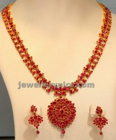 Ruby kempu long chain with earrings - Latest Jewellery Designs Ruby Necklace Designs, Gold Ruby Necklace, Gold Bridal Earrings, Ruby Jewelry, Wedding Jewelry, Baby Necklace, Small Necklace, Short Necklace, Locket Necklace