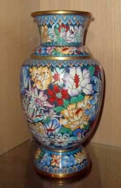 Antique Chinese Enamel Cloisonne Flower Brass Vase 1930's