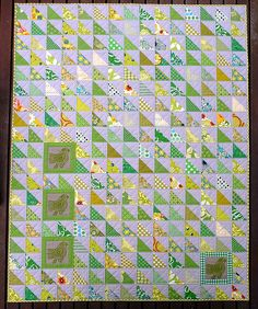 Green HST Quilt (via Red Pepper Quilts) -- I am SO in love with the green + gray.  You never see green quilts...