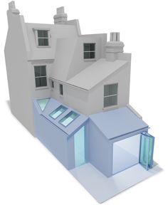 Separate side and rear kitchen extension in Balham. Separate side and rear kitchen extension in Balh Victorian Porch, Victorian Townhouse, Edwardian House, Victorian Homes, Side Return Extension, Roof Extension, Extension Ideas, Loft Conversion Extension, Roof Design