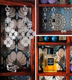 Shadow box jewelry displays by Polka dots are love