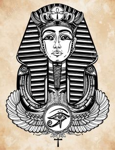 Ilustração desenhada mão de Tattoo Art Vintage Winged Pharaoh Ankh. Ilustração…