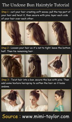Undone Bun Hair Tutorial How To : - curl your hair creating soft waves. pull the top part of your hair and twist it, then secure . Bun Hairstyles, Pretty Hairstyles, Easy Hairstyle, Summer Hairstyles, Style Hairstyle, Wedding Hairstyles, Fashion Hairstyles, Simple Hairstyles, Corte Y Color