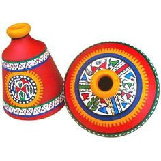 ExclusiveLane Terracotta Warli Hand Painted Pots Red Set Of 2