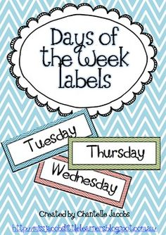Free. Days of the week labels: Little Learners