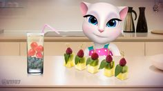 Birthday party food <3 I cut up colorful fruit and veg into small cubes and put them on skewers for snacks. Pretty AND healthy! You guys should try my super special lemonade. Just take lemonade, add some blueberries and strawberries and there you go, magic rainbow lemonade! xo, Talking Angela #talkingangela #mytalkingangela #LittleKitties