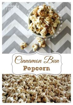 Easy and quick cinnamon bun popcorn recipe! This homemade cinnamon bun popcorn tastes like a gourmet popcorn you would buy. Perfect for a holiday treat or gift! Sweet Popcorn, Candy Popcorn, Popcorn Snacks, Party Popcorn Recipes, Popcorn Shop, Perfect Popcorn, Candy Bars, Party Recipes, Gourmet Popcorn