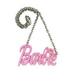 Nicki Minaj Barbie Large Iced Out Pendant Pink Plastic Metal Chain... ❤ liked on Polyvore featuring jewelry, necklaces, pink pendant necklace, nicki minaj necklace, pink necklace, pendants & necklaces and nicki minaj