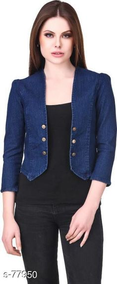 Capes, Shrugs & Ponchos Fashionable Denim Women's Jacket  *Fabric* Denim   *Sleeves* Sleeves Are Included   *Size* S - 36 in, M - 38 in, L - 40 in, XL - 42 in   *Length* Up to 16 in to 18 in   *Type* Stitched   *Description* It Has 1 Piece of Jacket   *Pattern* Solid   *Note* Colors may be slightly different due to the photographic effect.  *Sizes Available* XXS, XS, S, M, L, XL, XXL, XXXL, 4XL, 5XL, 6XL, 7XL, 8XL, 9XL, 10XL, Free Size *   Catalog Rating: ★4.1 (2019)  Catalog Name: Free Mask Trendyfrog The Denim Hive Vol 3 CatalogID_7864 C79-SC1024 Code: 582-77950-