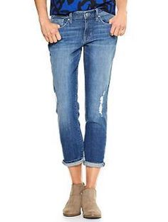 GAP SKINNY ROLL UP JEAN, MEDIUM WASH, DISTRESSED, SIZE 8/29 #GAP #CapriCroppedRelaxed