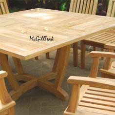Tropez teak square - dining eight seat. Outdoor Dining Set, Outdoor Tables, Outdoor Decor, Teak Dining Chairs, Square Tables, Teak Wood, Outdoor Furniture, Patio Ideas, Bali