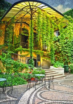 Art Deco Style Courtyard in the VIII district, Budapest, Hungary
