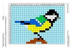 Dyktanda graficzne piksele, nauka kodowania i programowanie dla dzieci - karty pracy do wydruku na jesień - sikorka Graph Paper, Pattern Art, Pixel Art, Art Projects, Coding, Teaching, Beads, Math, Retro