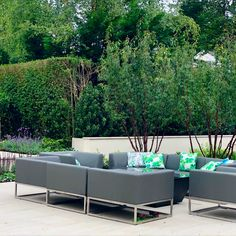 This beautiful contemporary garden lounge furniture works perfectly with the style of the new garden we recently completed in Harpenden, Hertfordshire Lounge Furniture, Outdoor Furniture Sets, Outdoor Decor, Contemporary Garden, Garden Seating, Design Projects, Amanda, Garden Design, Beautiful