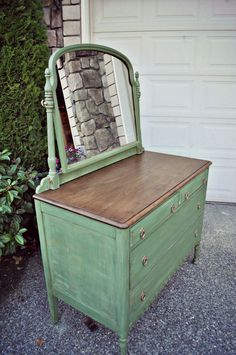 Boxwood Green Antique Dresser - Gray Table Home