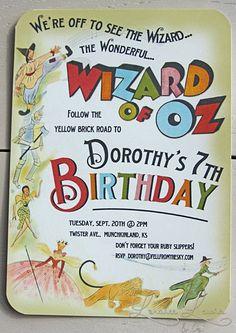 Super Cute Wizard of Oz Kids Birthday Invitation