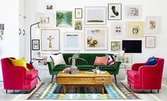 Color is one of the easiest ways to shift the energy in your space with feng shui. Each color is an expression of a feng shui element, and each color can bring good feng shui into your space if you know how to use it. Green Velvet Sofa, Green Sofa, Pink Velvet, Velvet Chairs, Home Living Room, Living Room Decor, Living Spaces, Studio Living, Red Couch Living Room