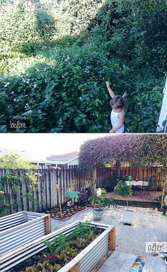 Back garden / small yard: corrugated metal raised plant beds, gravel, slightly raised patio with post trellis covered in vines