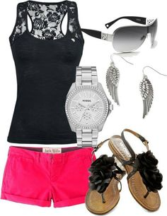 I'd add more accessories the color of the shorts, keep the shoes though :)