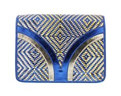 chicmarket.com - Melie Bianco Layne Woven Accordion Metallic Crossbody - Blue