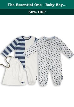The Essential One - Baby Boys 2 Pack Footie Sleeper Coveralls 9-12 Months Blue. Really Essential - Our 2 pack of new baby boy sleepsuits are all made from 100% superfine cotton so really soft against babys skin. They are fully poppered including all the way down each leg for ease of changing and have integral mitts which can be turned over to stop baby scratching their delicate faces. Every pack comes with its own matching jersey drawstring bag- Every size up to 18 months has integral...
