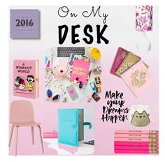 """""""on my desk"""" by natynovas ❤ liked on Polyvore featuring interior, interiors, interior design, home, home decor, interior decorating, Pusheen, Olympia Le-Tan, Juicy Couture and onmydesk"""
