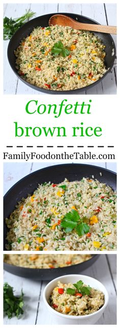 Confetti brown rice is a colorful, flavorful and fun dinner side dish that takes just 10 minutes of prep!