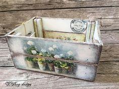 Decoupage Furniture, Decoupage Box, Pretty Storage Boxes, Ikea Stool, Pretty Box, Vintage Shabby Chic, Wooden Boxes, Diy Art, Crates