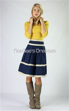 Navy and Cream Cotton Skirt by Mikarose Fall 2013 | Modest Skirt | Mikarose
