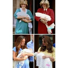 Princess Diana at the Lindo Wing in 1982 with Prince William and in 1984 with Prince Harry and now Duchess Catherine with Prince George in 2013 and in 2015 with Princess Charlotte