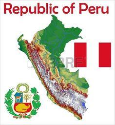 Perú. . Escudo, bandera y mapa.