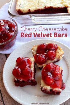 Amazing Dessert Recipe: Cherry Cheesecake Red Velvet Bars | 5DollarDinners.com