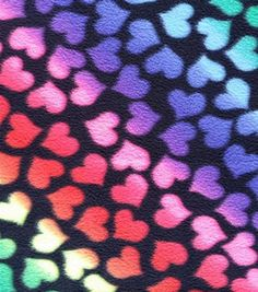 Item # 13546999Anti-Pill Fleece Fabric Ombre Neon Hearts On Black