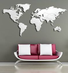 Contemporary grey world map wallpaper mural wallpaper mural at arredo design italia gumiabroncs Image collections