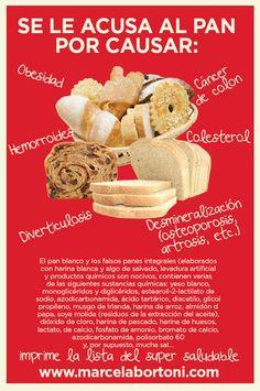 Se le acusa al pan por causar:  -Obesidad -Cáncer de colon -Hemorroides -Colesterol -Diverticulosis -Desminerización