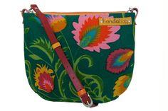 Floral messenger bag  linen crossbody bag ethnic bag by bandabag