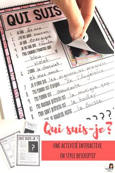 is a descriptive writing activity for French language students. Using a graphic organizer and writing prompts, students will write a complete description of either the French Flashcards, French Worksheets, Descriptive Writing Activities, Writing Prompts, French Classroom Decor, Teaching French Immersion, High School French, French Teaching Resources, Teaching Spanish