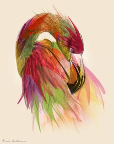 Geometric Painting - Flamingo  by Mark Ashkenazi
