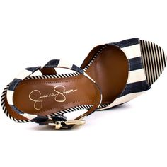 Jessica Simpson Papaya - Navy Sailor Stripe ($90) ❤ liked on Polyvore