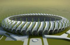 BASRA- The US$ 100 million Al-Menaa stadium is currently under construction in the outskirts of Basra and has a cable-stayed canopy formed by serpentine pipe trusses and covered by a tensile membrane with ridges and valleys. It is one of three Iraq stadium projects designed by Kansas-based 360 architects.