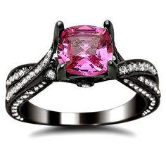 Amazon.com: 2.37ct Pink Sapphire Cushion Cut Diamond Engagement Ring 14K Black Gold: Jewelry