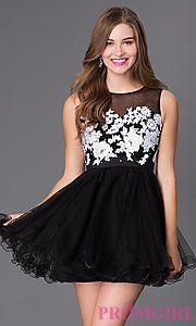 Buy Short Sleeveless Dress with Illusion Bodice at PromGirl