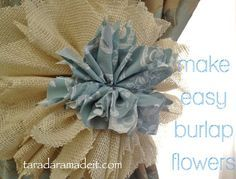 How to make pretty Burlap Flowers for your home, weddings, just about anything (just change the size).