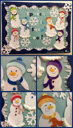 DIY Bulletin Board Idea: Winter is right around the corner, and we're updating our Speech Room in a cute snowman theme!