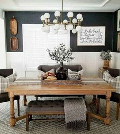 Awesome Farmhouse Dining Room Design Ideas - Those colours can be applied on your dining room walls. Since this farmhouse design mostly shows the natural unsures, you can also add brownie furniture like brown vas, black, or maybe orange vas on the table. Farmhouse Dining Room Table, Dining Room Walls, Dining Room Design, Dining Tables, Wooden Tables, Farm House Dinning Room, Dark Grey Dining Room, Dining Room Office, Office Chairs