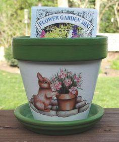 Garden Bunny Terra Cotta Flower Pot