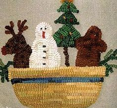 "This sweet Kindred Christmas rug-hooking pattern is hand-drawn onto 100% Linen for you! Measures 13"" x 15"". This pattern, designed by Alice Strebel and Sally Korte of Kindred Spirits (before Sally retired in 2008), this is not a design you can find any longer as Kindred Spirits Designs no longer is with us - However, you can get it here at Homespun Hearth."