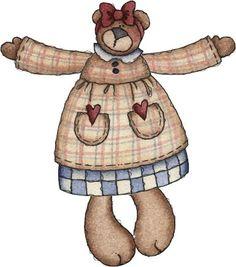 COUNTRY TEDDY BEAR CLIP ART